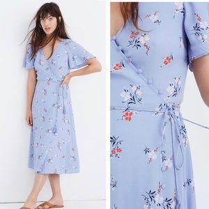 Madewell Button-Wrap Midi Dress Aloha Floral 2 New